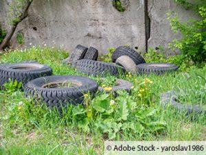 ZARE | Zertifizierte Altreifenentsorger | Alte Reifen am Straßenrand illegal abgelagert